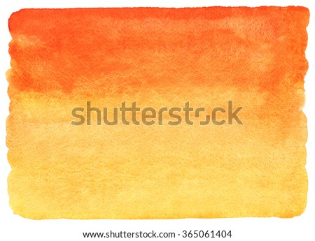 Fire, flame or sunset colors watercolor abstract background. Red, orange, yellow horizontal gradient fill with uneven edges. Hand drawn texture. Tropical colours watercolour stains. - stock photo