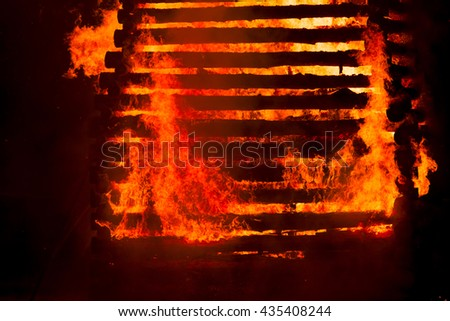 Fire flame smoke spark wood house orange France - stock photo