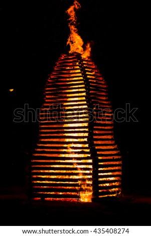 Fire flame smoke spark wood house orange France - stock photo
