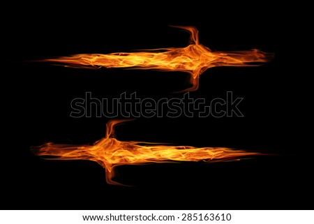 fire flame sword isolated on black - stock photo