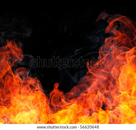 Fire flame with smoke. - stock photo