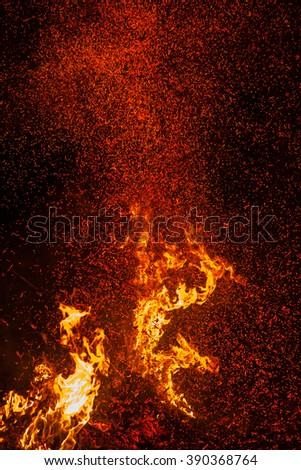 Fire flames background. blaze fire flame texture background. Burning fire flame background - stock photo