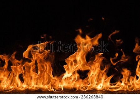 Fire flames background, close-up. - stock photo