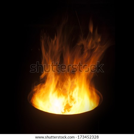 Fire flames background (fire in the barrel) - stock photo