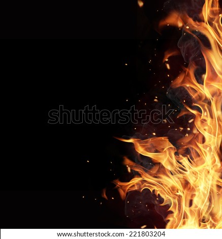 Fire flames isolated on black background - stock photo