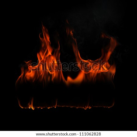 Fire flames on a black background with free space for text