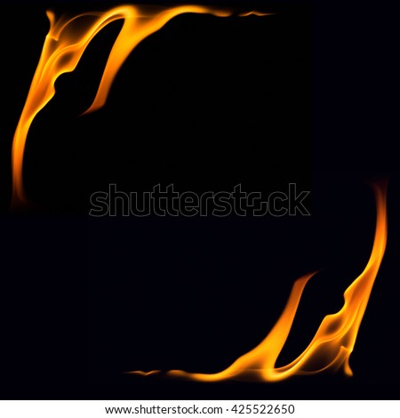 Fire flames on black background,Flames of Fire in a fireplace,fire flame,fire flame close up  - stock photo