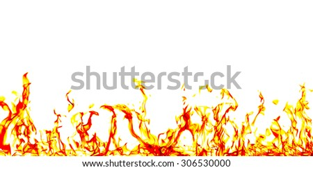 Fire flames on black background set nuber 3 - stock photo