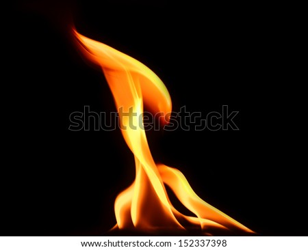 Fire flames reflected - stock photo