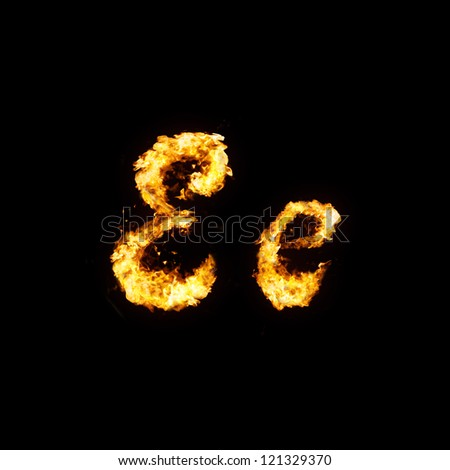 Fire font. Ee - stock photo