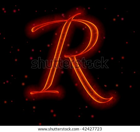 Fire font with sparks - Letter R from alphabet - stock photo