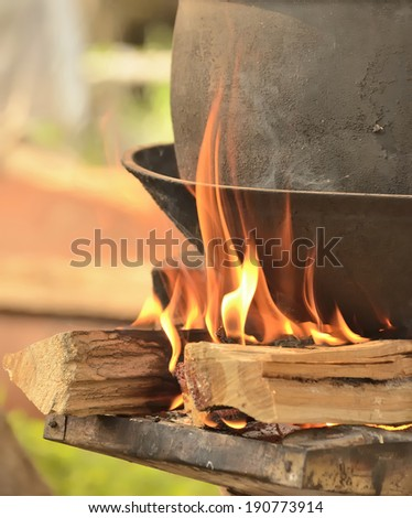 fire for cooking - stock photo