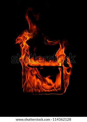 Fire frame in black background - stock photo