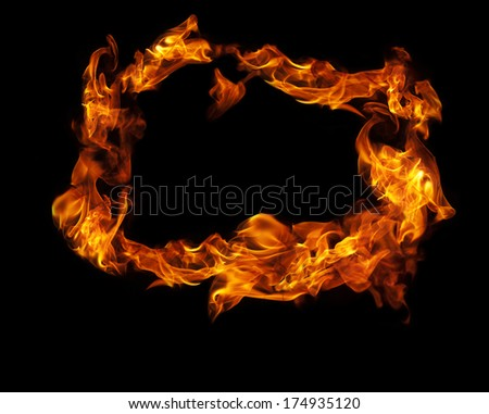Fire frame on black background