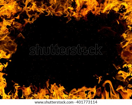fire frame on black background - stock photo