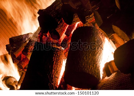 Fire from wood in industrial stove - Poland.