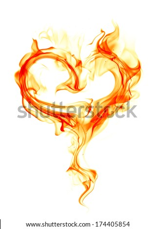 Fire heart on white background - stock photo