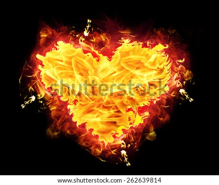 Fire heart with burning flames.