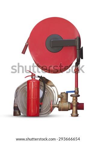 fire hose fire extinguisher isolated on white background. - stock photo