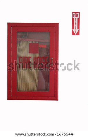 fire hose with sign to nothing - stock photo
