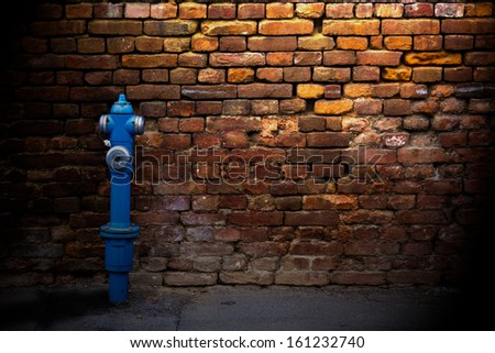 Fire hydrant against a brick wall on a side street. - stock photo