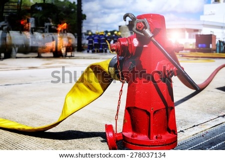 fire hydrant , hose connection ,fire fighting equipment for fire fighter. - stock photo