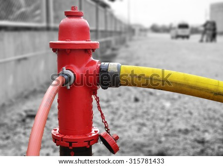 Fire hydrant  hose connection fire fighting equipment for fire fighter. & Fire Hydrant Hose Connection Fire Fighting Stock Photo (Royalty Free ...