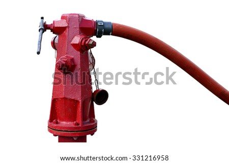 fire hydrant , hose connection ,fire fighting equipment for fire fighter isolated on white. - stock photo