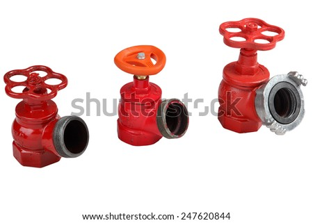 Fire Hydrant Valve Hose, set of three red fire hydrants, for indoor, isolated on white background - stock photo
