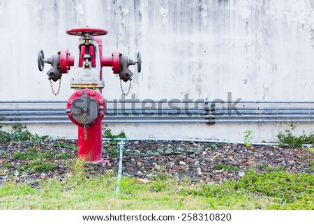 fire hydrant with wall space for write text - stock photo