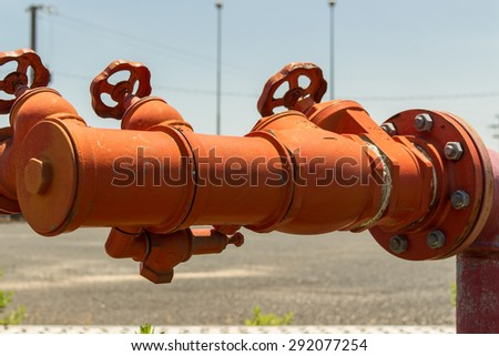 Fire hydrants, fire hoses connecting place. - stock photo
