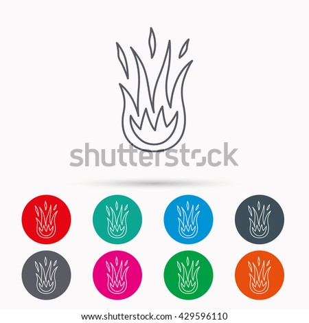 Fire icon. Hot flame sign. Linear icons in circles on white background.