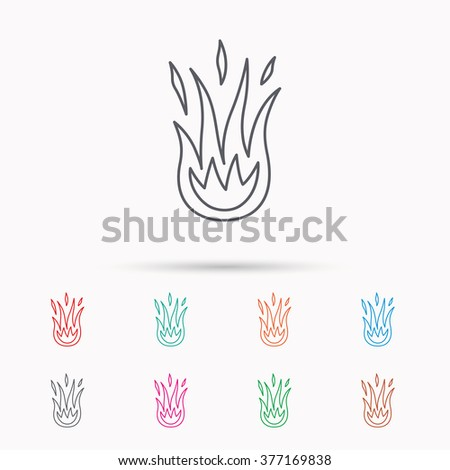 Fire icon. Hot flame sign. Linear icons on white background. - stock photo