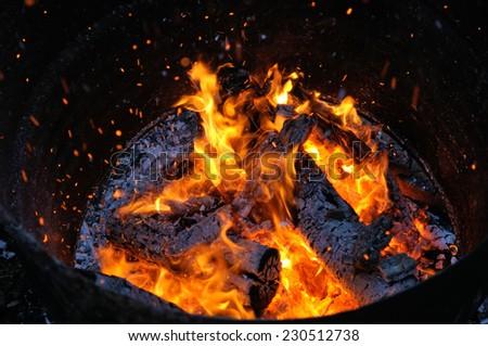 fire in a barrel - stock photo