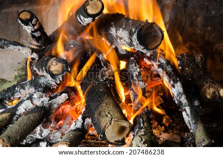 Fire in a fireplace close up