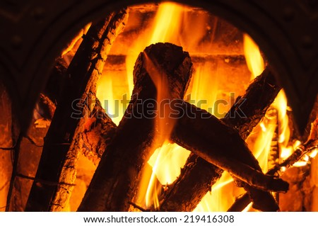 Fire in a fireplace. Closeup with shallow DOF.