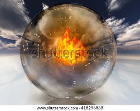 Fire in diviners sphere 3D Render - stock photo