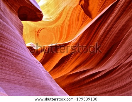 Fire in Lower Antelope Canyon, AZ. - stock photo