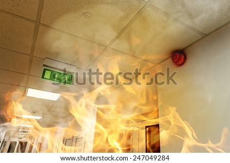Fire in the building - stock photo