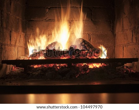 fire in the fireplace in darkness