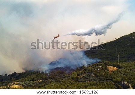 Fire in the forest on mountains near Makarskar in Croatia with water-bomber plane