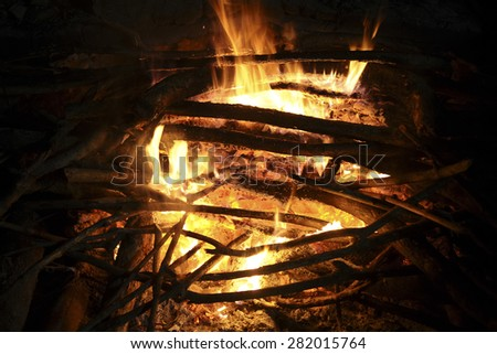 fire in the hearth - stock photo