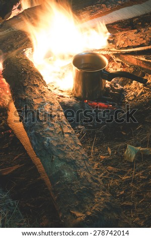 Fire in the nature. Preparing barbecue in the forest - stock photo