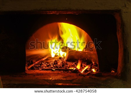 fire in the oven. fire in a traditional oven for cooking baking