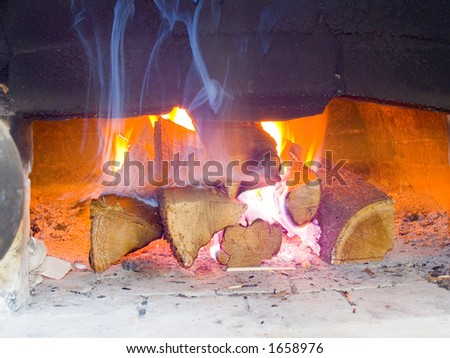 Fire in the Russian furnace - stock photo