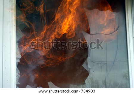 fire in window - stock photo