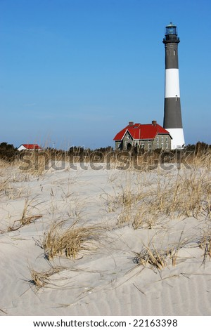 Fire Island Lighthouse as seen looking up from the beach. Located at Fire Island National Seashore, Long Island, New York