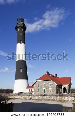 Fire Island Lighthouse. Fire Island National Seashore. Long Island, New York - stock photo