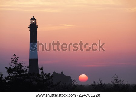 Fire Island Lighthouse in the Morning Sunrise - stock photo