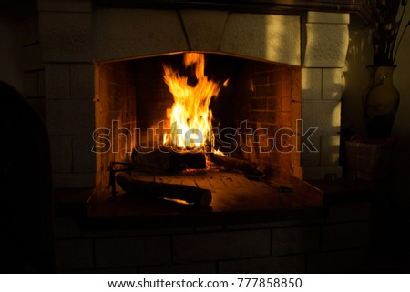 fire isolated in black woods fireplace for background dark